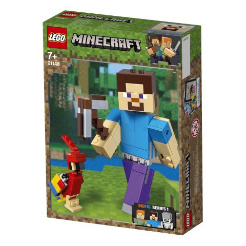 Lego Minecraft 21148 Minecraft BigFig Steve ja Papukaija